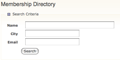Member Directory Search Form
