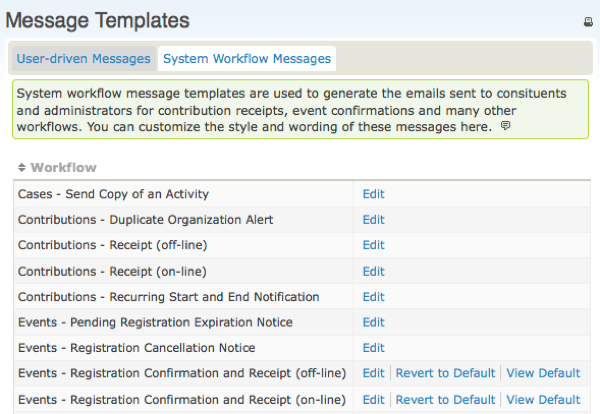 List Of Message Templates With Two Tabs. The Second Tab Is For System  Workflow Messages  Event Manual Template