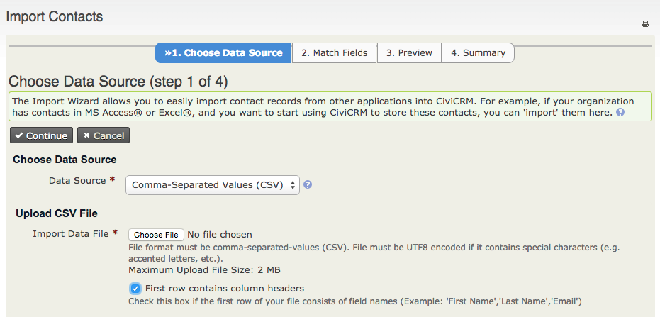 "Import contacts form with with tab ""1. Choose Data Source"" highlighted."