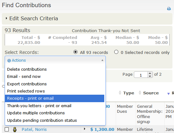 Manual Receipts And Thank You Letters Civicrm User Guide Civicrm