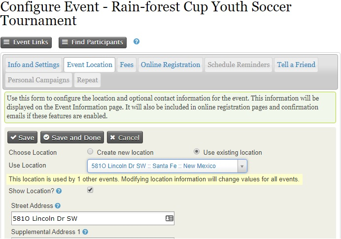 Configure event form. The second tab is the event location.