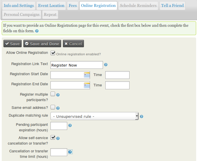 The fourth tab of the event form contains the online registration settings.