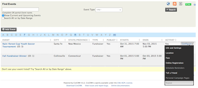 Manage events screen with two events, and the expanded context menu: info and settings, location, fees... and repeat.