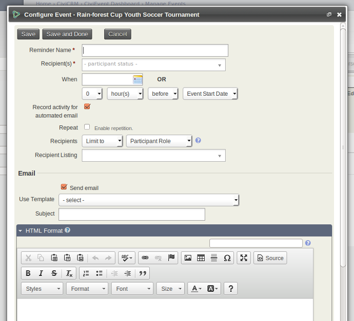 Creating an event CiviCRM user guide – Event Manual Template